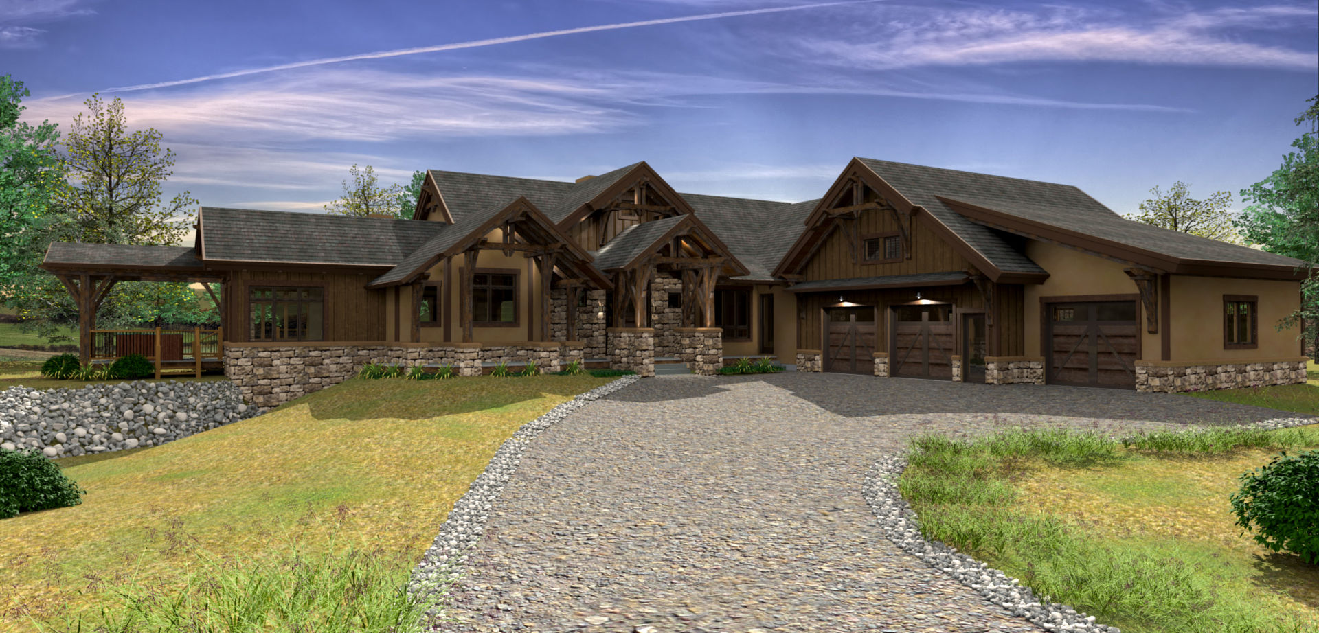 Design hidden valley ranch for Ranch timber frame plans