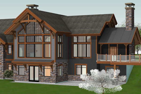 Butternut-Lodge-Clarksburg-Ontario-Canadian-Timberframes-Design-Rear-Perspective