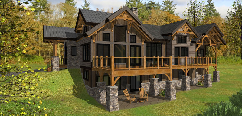 <p>This mountain home was designed to sculpt into a rolling site. The open concept main floor leads to a large Master suite with walk in closets and deck to outside. The lower level is designed for recreation complete with theater room and houses 2 additional bedrooms all opening up to a covered patio expanding across the whole back side of the home.</p>