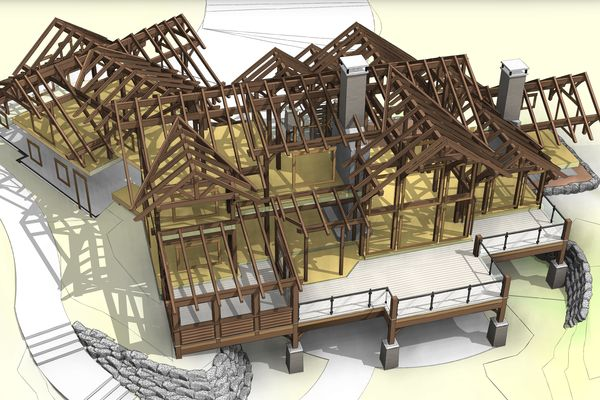 Northern-Meadows-Whitecourt-Alberta-Canadian-Timberframes-Design-Rear-Timber-Perspective