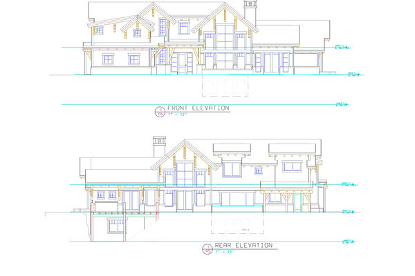 Bow-River-Alberta-Canadian-Timberframes-Design-Front-Rear-Elevations