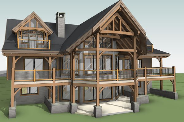 Great-Lakes-Legacy-Michigan-Canadian-Timberframes-Design-3D-Rear-Exterior
